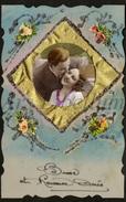 Postcard / Celluloid / Couple / Romantique / Bonne Et Heureuse Année / 1938 / 2 Scans - Matériel
