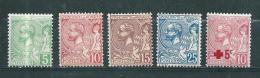 Monaco Timbre De 1901/14  N°22 A 26  Neufs  Charnière - Nuovi