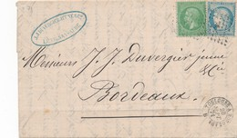 LAC N°s 20 Et 37 Avec Ambulant Du 20 Septembre 1871 Signée Calves TB.