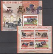 B136 2010 REPUBLIQUE TOGOLAISE HISTOIRE DES CARROSSES KB+BL MNH