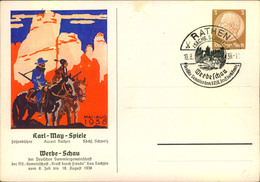 """1938, Privatganzsache """"Karl-May-Festspiele Mit Sonderstempel Von RATHEN - Writers"""