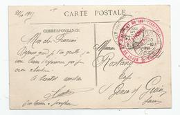 Marcophilie Isère - 38 - Bourgoin Cachet Rouge Dépot Du 22 Et 106 Teritorial Franchise Militaire 1915 - Marcophilie (Lettres)