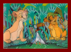 Théme Disney * Carte Vision Relief *  Ps 232 Simba Nala    ( Voir Scans Recto-Verso ) Dos écrit - Sonstige