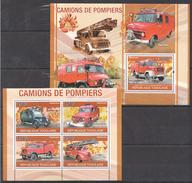 A208 2010 REPUBLIQUE TOGOLAISE FIRE TRUCKS DE POMPIERS 1KB+1BL MNH