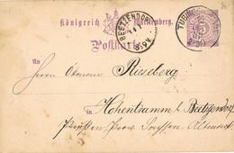23377. Entero Postal  TUBINGEN (Wurtemberg) 1889 To Beetzendorf