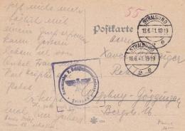 Feldpost WW2: Kommando 7. Schiffstammabteilung In Stralsund P/m Stralsund 18.6.1941 - Plain Postcard  (G79-61) - Militaria