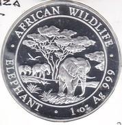 MONEDA DE PLATA DE SOMALIA DE 100 SHILLINGS DEL AÑO 2012 DE 1 ONZA  (SIN CIRCULAR-UNCIRCULATED) ELEFANTE-ELEPHANT - Somalia