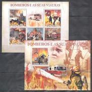 A213 2009 T GUINE-BISSAU FIREFIGHTERS LIFE FIRE TRUCK BOMBEIROS VIAURAS KB+BL MNH