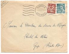 OBLITERATION MECANIQUE DE CANNES DU 5/3/1945 - Postmark Collection (Covers)