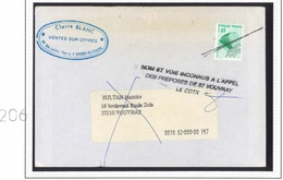 Préo 206 Sur Lettre Retour à L'envoyeur - Griffe Spéciale Des Facteurs De Vouvray Avec Signature