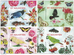 ST. MAARTEN SINT MAARTEN 2016 ** Parrots Papageien Perroquets No. 2 4S/S I-IV - OFFICIAL ISSUE - A1707