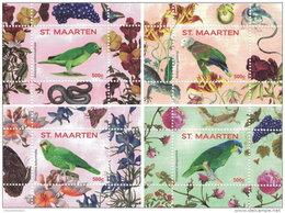 ST. MAARTEN SINT MAARTEN 2016 ** Parrots Papageien Perroquets No. 2 4S/S V-VIII - OFFICIAL ISSUE - A1707