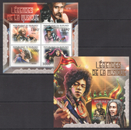 A217 2012 BURUNDI FAMOUS PEOPLE ART MUSIC LEGENDES DE LA MUSIQUE 1KB+1BL MNH