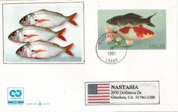Poissons: Entier Postal Américain, Année 1991, Adressé En Californie