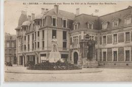 51 - Marne Reims Monument Aux Morts Du 132 E Et La Fontaine Des Bouchers 1933 - Reims
