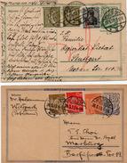 DR 1922/23: 2 Gut Erhaltene GS-PKs (P 140 I U. P 148 I), Jeweils Mit Zusatzfrankatur, Siehe Scan