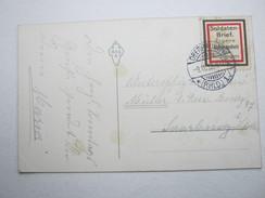 1913, SOLDATENBRIEF , Vignette Auf Karte Aus Oberhausen