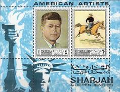 USA Gemälde 1968 Sharjah Block 36 ** 6€ Maler Remington Kennedy Kunst Rockwell Reiter Bloc Ss M/s Art Sheet Bf VAE