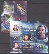 B149 2012 MOCAMBIQUE SPACE APOLLO 17 1KB+1BL MNH