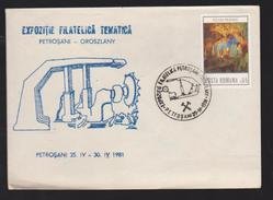 COVER Minerals -philatelic Exhibition TEMATICA  PETROSANI -OROSZLANY-1981