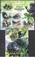 B154 2012 S MOCAMBIQUE ANIMALS MONKEYS 80th ANNIVERSARIO DE DIAN FOSSEY  1BL+1KB MNH