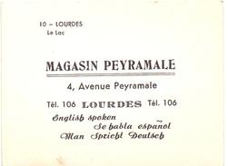 Visitekaartje - Carte Visite - Magasin Peyramale - Lourdes - Cartes De Visite