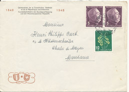 Switzerland Cover Sent 1948 With Pro Juventute Stamps