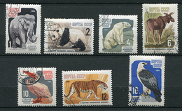 Russie Ob N° 2821 à 2827 - Animaux : éléphant, Panda, Ours, élan, Pélican, Tigre, Faucon -