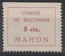 España Guerra Civil Viñeta  MAHON  COMITE DE SOCORROS 5cts  GG 844 RR **  V178 - Vignettes De La Guerre Civile