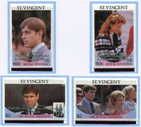 St Vincent ** N° 957 à 960 Surchargés - Mariage Du Prince Andrew -