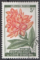 183 Costa D'Avorio 1962 Fiori Flowers Plumeria Rubra Viaggiato Used IVORY COAST - Vegetazione