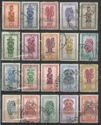 BELGISCH CONGO 1948-1951 - INDIGENOUS ART - MASKS - LOT OF 20 DIFFERENT - OBLITERE USED GESTEMPELT USADO