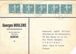 Enveloppe 1965 A Destination De Chartres Avec Bande De 4  Timbres - Suisse