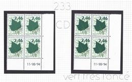 Préo 233 ** - Variété Moderne Vert Très Foncé Dans Coin Daté Du 11/08/94