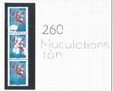 Préo 260 ** - Variété Moderne Grosses Maculations Tenant à Normal Dans Bande De 3
