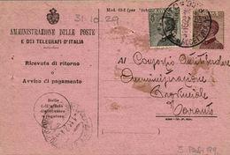 Ricevuta Di Ritorno Raccomandata 31.10.1929  Con 20+30c. Michetti - Storia Postale