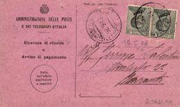 Ricevuta Di Ritorno 18.05.1926  Con  Coppia 30c. Michetti - Storia Postale