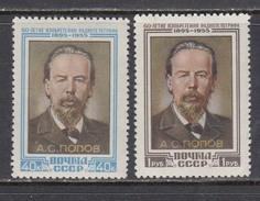 USSR 1955 - A. S. Popov, Physiker, Mi-Nr. 1784/85, MNH**