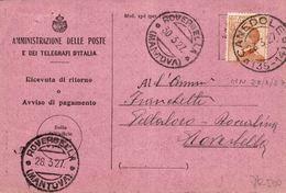 Ricevuta Di Ritorno 30.03.1927 Canedole Fraz. 35-14 Per Roverdella Con  50c. Michetti Isolato - Storia Postale