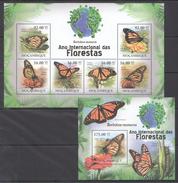 B189 2011 MOCAMBIQUE FAUNA DAS FLORESTAS BUTTERFLIES BORBOLETAS 1KB+1BL MNH