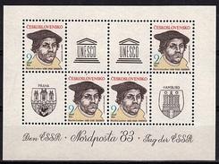 TCH 115 -TCHECOSLOVAQUIE N° 2521 Martin Luther En Feuillet De 4 Neufs**  NORDPOSTA 83 - Tchécoslovaquie