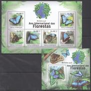 B191 2011 MOCAMBIQUE FAUNA DAS FLORESTAS BUTTERFLIES BORBOLETAS 1KB+1BL MNH
