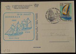M016 Voiliers De La Marine Nationale Goélettes L' Etoile Et La Belle Poule Bordeaux 20 25 Juillet 1990 Oblitération Les - Posta Marittima
