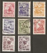 Yougoslavie -1950/53 - Métiers -  Petit Lot De 8 Timbres ° - Pêche - Elevage - Agriculture - Mine - Meunerie - Timbres