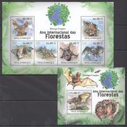B194 2011 MOCAMBIQUE FAUNA DAS FLORESTAS ANIMALS BATS MORCEGO-VAMPIRO 1KB+1BL MNH