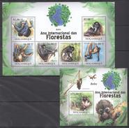 B202 2011 MOCAMBIQUE FAUNA DAS FLORESTAS ANIMALS MONKEYS ATELES 1KB+1BL MNH