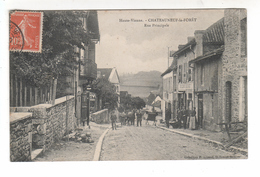 (n°587) CPA 87 CHATEAUNEUF LA FORET Rue Principale Cheval Place Coiffeur épicerie 1908  TB - Chateauneuf La Foret