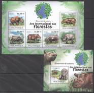 B205 2011 MOCAMBIQUE FAUNA DAS FLORESTAS ANIMALS RHINO RINOCERONTE 1KB+1BL MNH