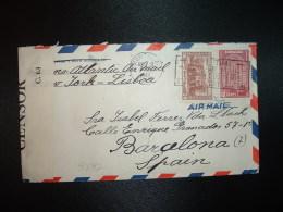 LETTRE TP 20c + TP 10c OBL.MEC.AUG 8 1940 MONTREAL Pour ESPAGNE (BARCELONE) + LISBOA + DOUBLE CENSURE - Covers & Documents