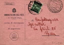 Ricevuta Di Ritorno Raccomandata  09.07.1945 Con Monum Soprast. 2L - Storia Postale